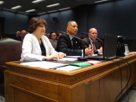 Testifying before the House Criminal Justice committee are (L to R): Marjorie Esman, ACLU; Rep. Austin Badon; Kevin Kane, Pelican Institute.