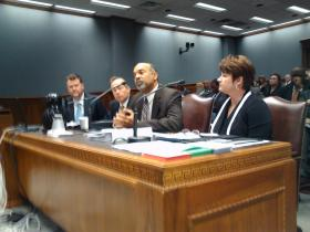 Higher Education system presidents testify in House Appropriations. (L to R) Dr. Monty Sullivan, LCTCS; Dr. F. King Alexander, LSU; Dr. Ronald Mason, SU; Dr. Sandra Woodley, UL.