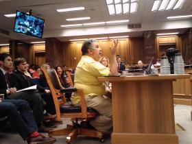 Former state senator Tony Guarisco testifies on medical marijuana bill.