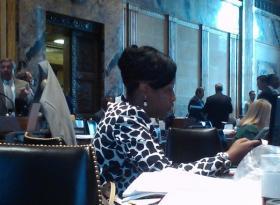 Rep. Katrina Jackson, at her desk on the House floor