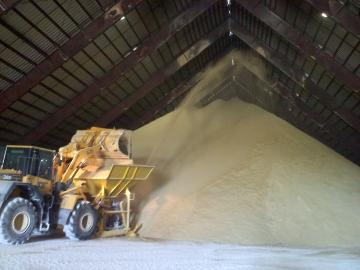 Raw sugar is stored at Lula-Westfield before being shipped to a refinery. (Tegan Wendland/WRKF)