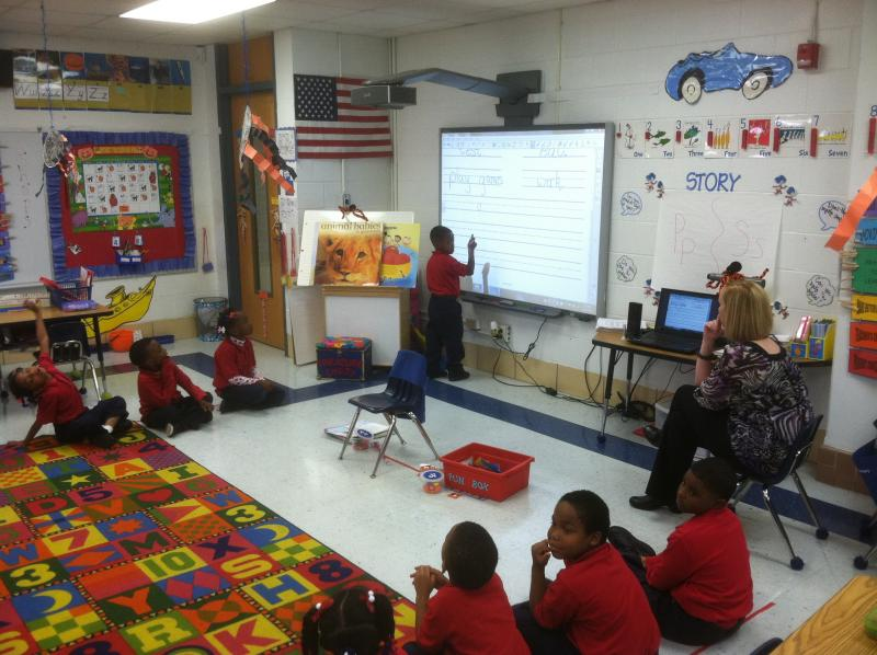 George Hall kindergarteners learn writing basics in Samantha Laubenthal's class.