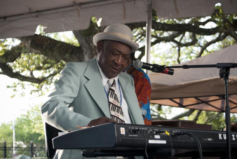 Henry Gray, the blues pianist, at work, April 13, 2013.