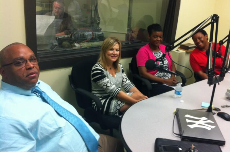 Parents (from left to right) Carlos Thomas, Kathryn Kissam, LaToya Johnson, and Tiffany Temple in the Jim Engster Show studio to discuss the educational choices they've made for their children.