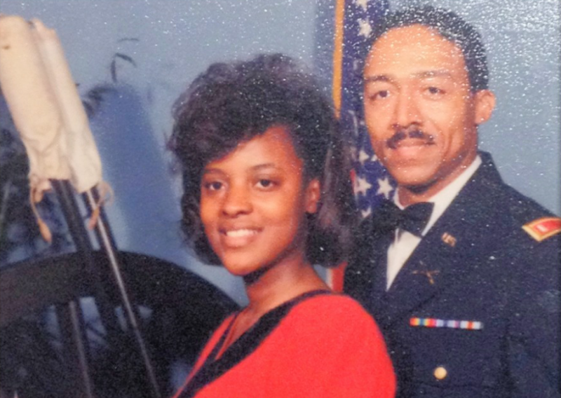 Eric Reed as a young first lieutenant with his wife Julia at a military officers function in 1989 at an Army base in Garlsted, Germany. They went to Istrouma High School together.
