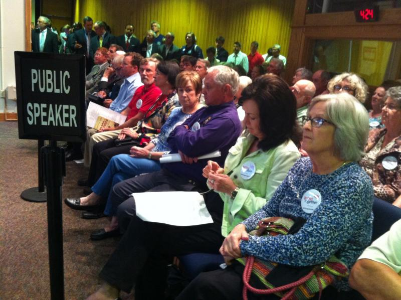 Members of the group Better Together, which advocated in favor of the annexations, fill the front row of the Metro Council chamber, May 15, 2014.