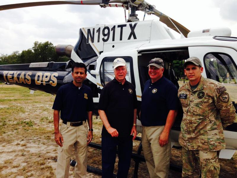 Gov. Bobby Jindal and Louisiana House Speaker Chuck Kleckley (third from left) on a tour of the U.S.-Mexico border with Texas Dept. of Public Safety officials.