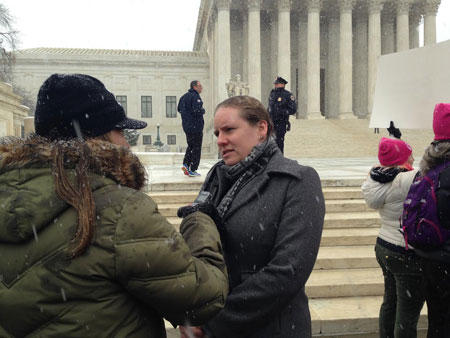 HRC Legal Director Sarah Warbelow speaking with reporters outside of the Supreme Court.
