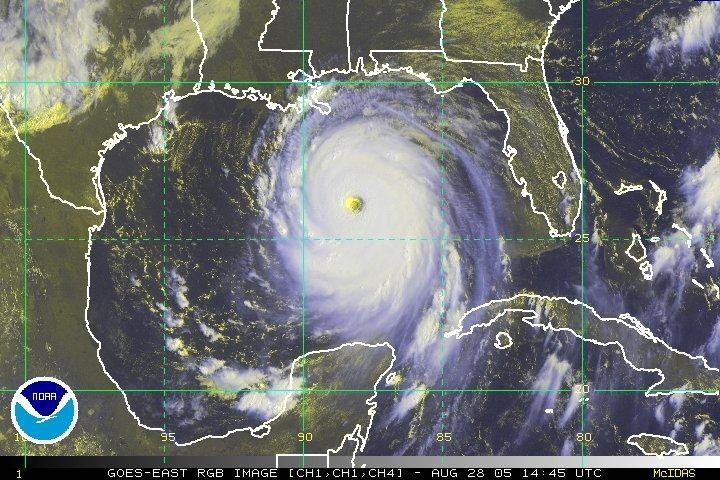 Hurricane Katrina, as pictured in the Gulf of Mexico at 14:45 UTC on August 28, 2005.