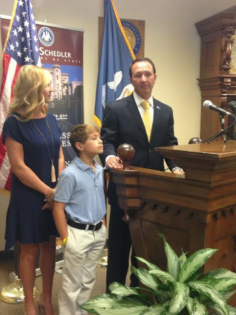 Jeff Landry with Wife, Sharon, and Son, J.T.