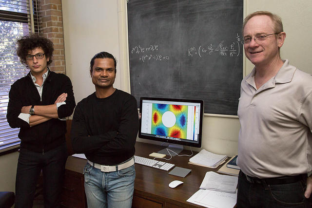 From left: Anthony Polizzi, Lokendra Thakur, and LSU Math Professor Dr. Robert Lipton.
