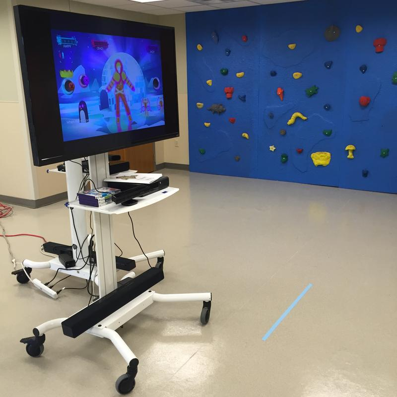 An exergame set up on the Kinect for Xbox at the Pennington Biomedical Research Center.