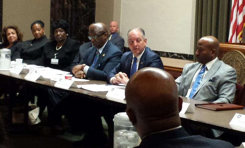 Louisiana governor meets with community leaders