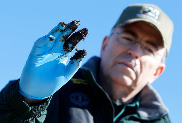 Former DWF Secretary Robert Barham showing oil residue months after BP spill