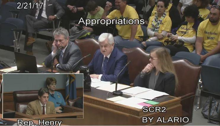 Senate President John Alario (R-Westwego) presents SCR 2, the $99 million Rainy Day Resolution, alongside Senate Finance Chairman Eric LaFleur (D-Ville Platte) to the House Appropriations Committee.