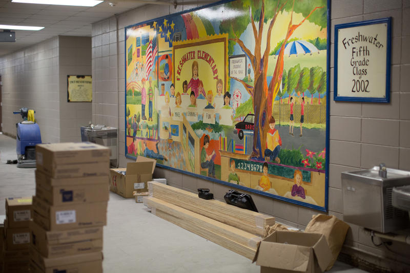 The hallway of Freshwater Elementary School in Denham Springs is lined with boxes of floor tile and construction material.  Over the summer, the school is continuing to repair damage from the August flood.