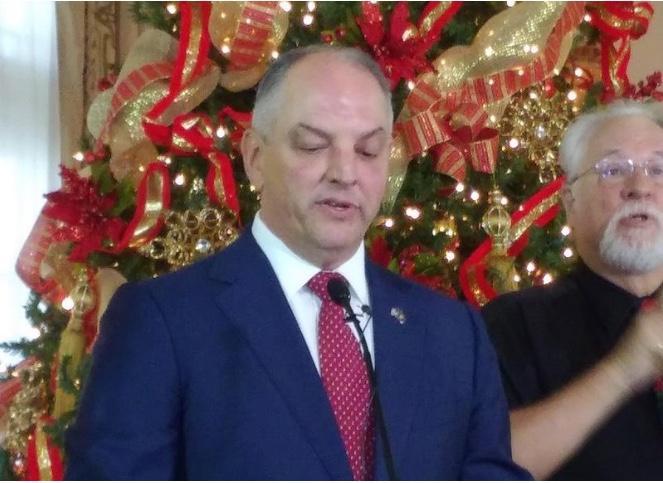 Gov. John Bel Edwards delivers his year-end press conference speech.