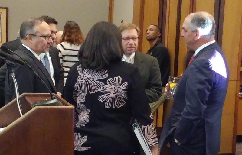 Governor (far right) chats with (L to R) Jan Moller of the Louisiana Budget Project, Revenue Secretary Kim Robinson, and CABL's Barry Erwin