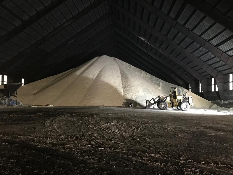 The Louisiana Sugarcane Cooperative processes sugarcane and converts it into raw sugar, pictured here.  The poor condition of Louisiana's roads and bridges is making it harder for farmers in the area to get their product to the market.