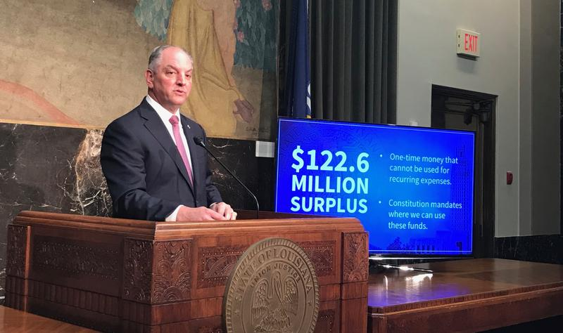 Governor John Bel Edwards presented his plan for a budget surplus of more than $120 million from last year's budget.