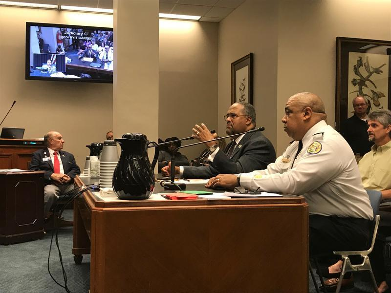 Sen. Troy Carter, alongside New Orleans Chief of Police Michael Harrison, presented his bill to the Senate Judiciary C committee. It would increase the age limit for purchasing assault weapons in Louisiana from 18 to 21 years of age.