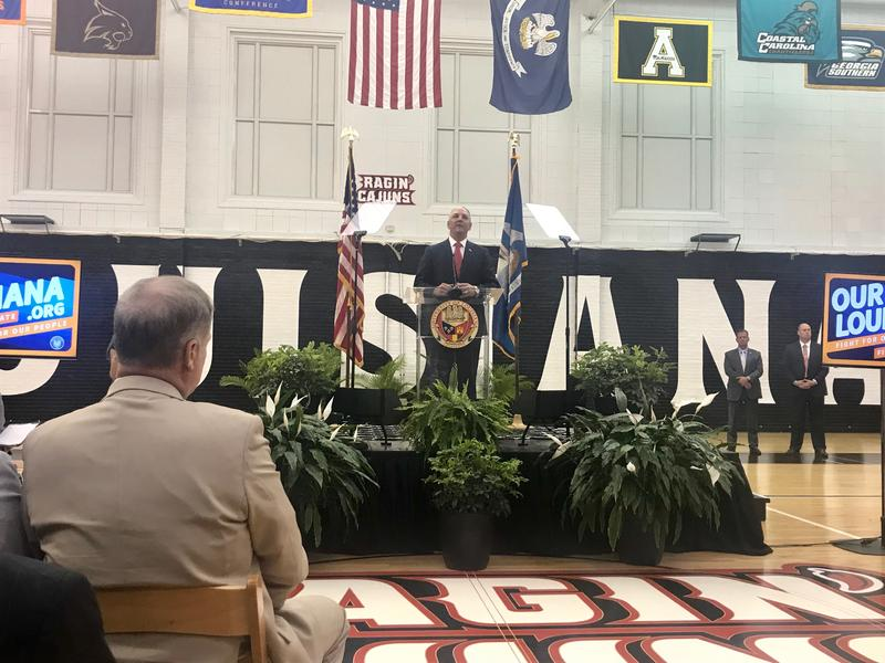 Gov. John Bel Edwards addressed a crowd at the University of Louisiana at Lafayette Tuesday, May 22, to open the second special session of 2018.