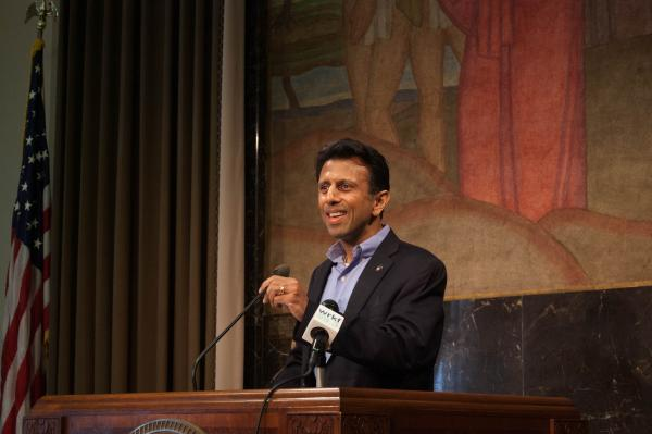 Jindal addresses the press on Wednesday