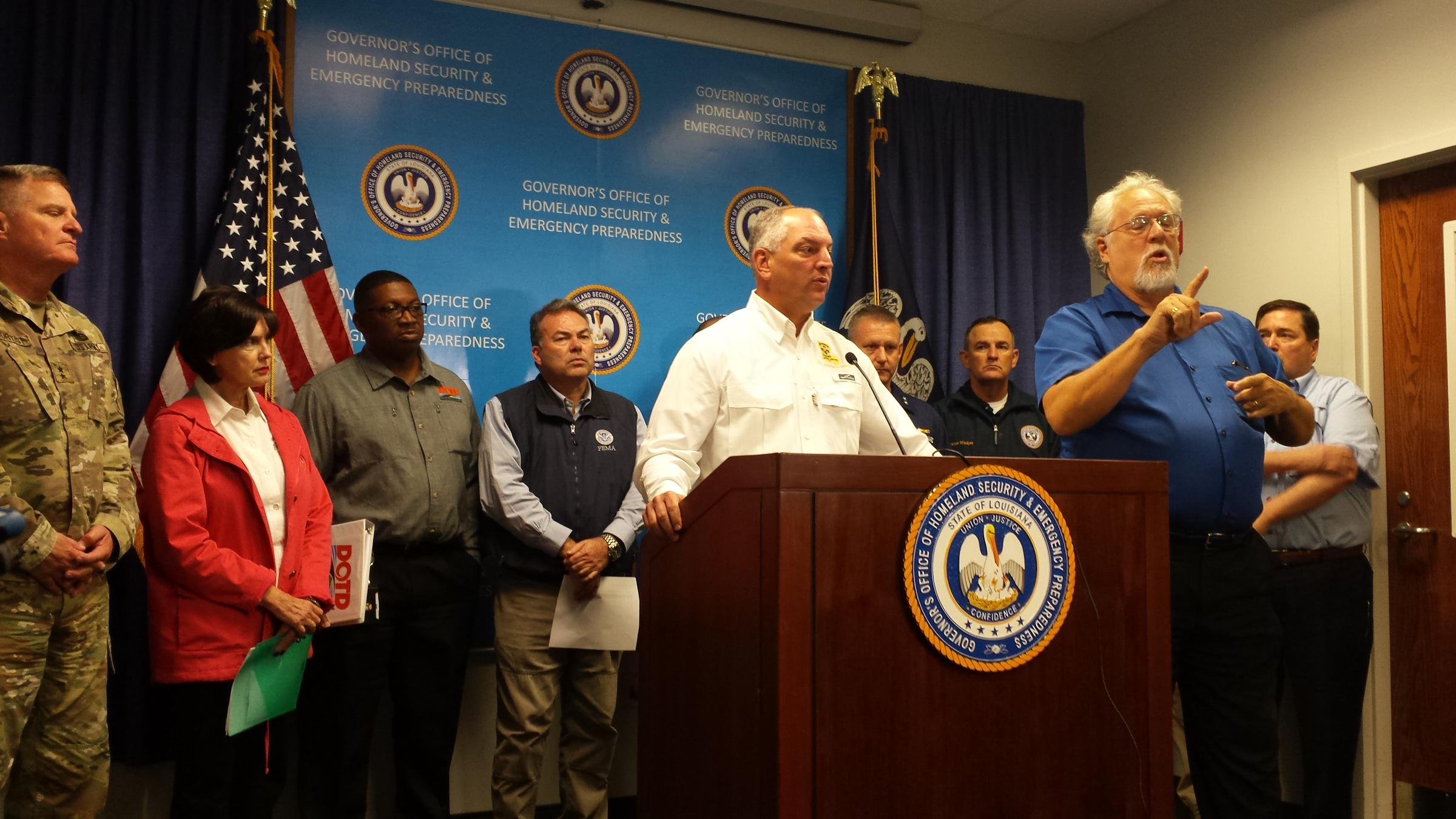 Governor John Bel Edwards gave updates on Tropical Storm Harvey Monday at the Governor's Office of Homeland Security and Emergency Preparedness in Baton ...