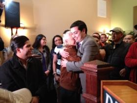 James Diossa hugs a supporter