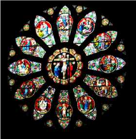 Stained glass window at Cathedral of Saints Peter and Paul