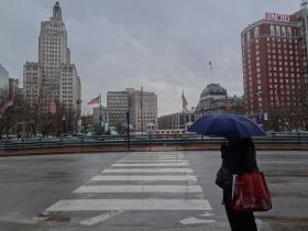 Braving the rain downtown Providence
