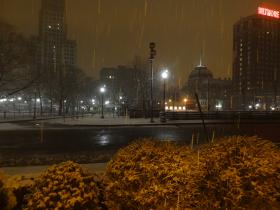 Early morning snow in downtown Providence