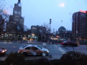 Rain in downtown Providence