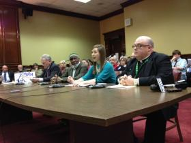 Rev. Bernard Healey (on right) with opponents of Same Sex Marriage at Senate Judiciary hearing March 21, 2013