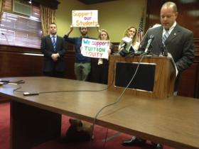 Lawmakers hold press conference at the Statehouse on bill giving immigrants in-state tuition.