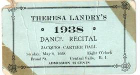 Ticket Stub for Theresa Landry's School Dance Recital.  Owner Theresa Landry was 16 at the time.