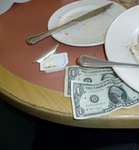 Tip Left at Restaurant Table