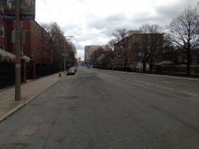Boston's Brookline Avenue is deserted Friday morning, looking toward Fenway Park.