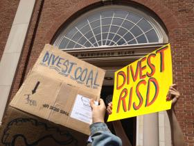 RISD students protest outside the admin building.