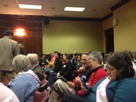 A crowd filled room 313 to hear the Senate Judiciary Committee approve same-sex marriage bill