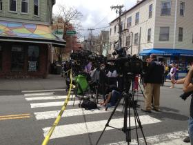 Media staked out near Cambridge and Tremont Streets in Cambridge, MA