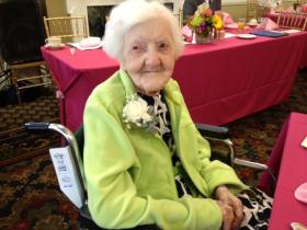 109-year-old Louise Silva at the Centenarian's brunch