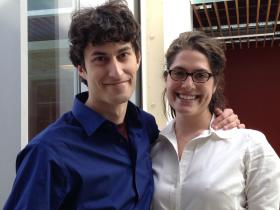 Future Docs Peter Kaminski (left) and Sarah Rapoport in the Warren Alpert Medical School of Brown University