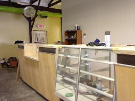 Display cases, ready for product, inside the Greenleaf compassion center