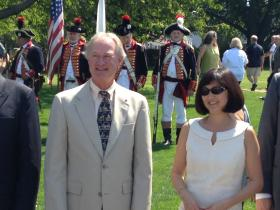Gov. Lincoln Chafee and artist Maya Lin at the dedication of the redesigned Queen Anne Square in Newport