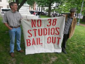 Protestors rally in downtown Providence against paying back a $75 million guaranteed loan to 38 Studios.