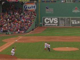 Heather Abbott throws out first pitch at Fenway.