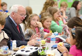 Under Secretary for Food, Nutrition and Consumer Services Kevin Concannon at a school lunch program in Arlington, VA, October 2011.