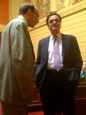 Walsh bending the ear of House Speaker Gordon Fox during a previous legislative session