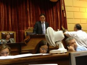 House Speaker Gordon Fox on the second day of trying to pass a state budget.